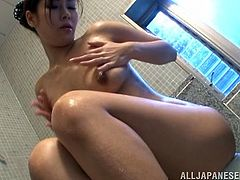 A very hot solo show is given by the Asian girl Aya Takekawa in this masturbation video in the bathroom.