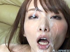 Hana Nonoka is one dirty asian slut. I have never seen a woman enjoy being under a shower of cum more than this kinky whore right here. Just look at her face as, one by one, no less than 5 guys cum on her pretty face giving her a complete facial that makes her look like she was swimming in cum.