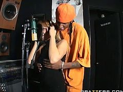 Lexi Love sucks BBC of black rapper at the music studio