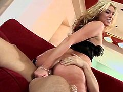 This video features some hot blowjob action before the dirty bitch gets fucked cowgirl style and she looks hot as fuck doing it.