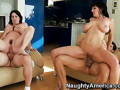 Rayveness with giant breasts and trimmed muff offers her snatch to Ramon Nomar