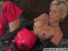 Naughty blonde in latex toys her pussy in a bedroom. Later on she comes up to a guy and gives him a blowjob. The guy cums in her mouth in the end.