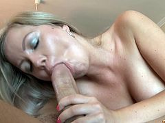 With a big dick up her tight vag, blonde sweetie goes wild and nasty