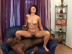 Interracial sex passion with a divine milf Anise Rocher. She sucks a huge black muscle and then it moves so fast in her wet and hairy muff.