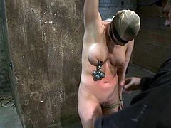 Horny chick with a stocking on her head gets tied up by her master. Later on she also gets her pussy toyed and tits tortured with claws.