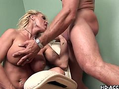 A hot MILF gets her mature pussy fucked hard after giving a nice blowjob. A hot mature babe here!