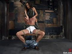 Wild Bill gets tied up by nasty Penny Flame. Then she whips his dick and drills the ass with the strap-on. After that she also gives him a handjob.