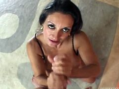 THis is another amazing POV sex scene with a charming brunette milf! Persia Munir starts it with her mouth and then gets poked deep in her snatch!