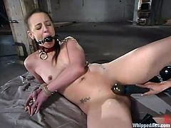 That petite ass belongs to Deja Daire and babe loves having a rough lesbian sex. Shy Love controls her with a collar on her neck, holding it with chain, while fucking her doggy style!