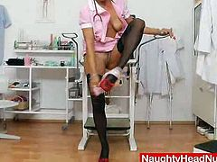 This blond nurse is a mature lady that loves having fun so much with her pussy! She got some sex toys to fulfill her desires.