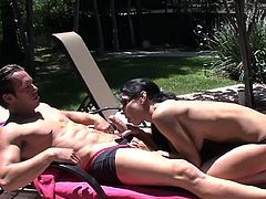Slutty Jessica Jaymes feels amazing in naughty outdoor deep penetration fuck scene