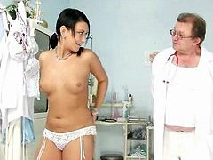 Carmen hoochie speculum detailed gyno exam by kinky old doctor