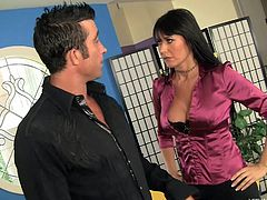 This is one lucky dude because his friend's smoking hot mom is going to rim him. Her tits are exposed through her shiny blouse and she is wearing sexy stocking. She pulls down her son's friend's jeans and goes deep in his butt crack with her tongue.