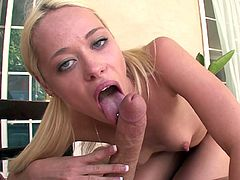 Sexy blonde slut goes deep in oral hardcore before swallowing huge load