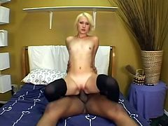 Slutty blonde Deze Ray wearing stockings is having a good time with some guy indoors. She sucks his BBC like never before and then they fuck in cowgirl position and doggy style.