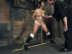 The busty Asian Mika Tan is going to be dominated today, tied up, tortured a little bit and toyed in this bondage session.