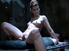 This slender and divine bitch Maitresse Madeline is going to make some fun on this dude! She ties him up and plays with his hard cock, giving him some pain!