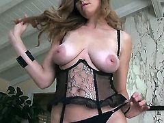 Attractive young looking brunette doll Jamie Lynn with big natural hooters and dark heavy make up in awesome lingerie gets horny while teasing and polishes shaved cunny to wet orgasm.