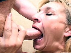 A lustful blonde granny wearing stockings favours some lewd dude with a deepthroat blowjob. Then she allows him to drive his wang into her cunt and pound it in missionary position.