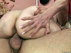 This old woman knows what she wants and does a fine job of getting it. She climbs on top of her lover and fucks him hard in this position.