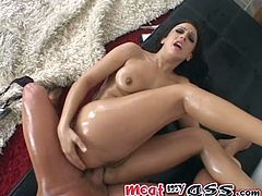 Curvaceous brunette chick gets her ass and legs oiled up. After that she gets her ass and pussy fingered at the same time. Later on she gets ass fucked.