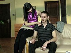 Jone thinks, he's about to have some fun with this sexy brunette! She seduces him, blindfolds & leaves. So the guy takes the bitches place. The dude, that just stepped in, begins to touch Jone and he discovers something new about himself!