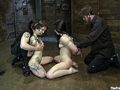 Cheyenne Jewel and her dark-haired GF are having fun with Wolf Hudson. They get bound by the dude and then get their mouths and pussies drilled hard.