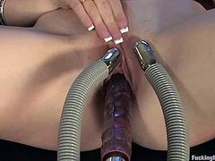 Sexy office girl in glasses strips her clothes off and lies down on a sofa. After that she spreads her legs and gets toyed by the fucking machine.