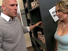 Her exposed breast attracted a male and turned him really horny in the libraryLuckily no one was in there so they could have a wild sex in the library,watch her geting that cock into her pussy in Brazzers Network sex clips.
