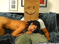 Check out this hardcore scene where the sexy Abella Anderson is fucked by a guy with a large cock wearing a paper bag on his head.