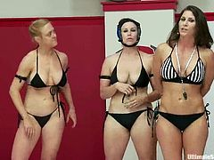 Isis Love, Penny Barber, Bella Rossi, Cheyenne Jewe and many other chicks are gonna have a wrestling match. Some of girl come out on tatami and beat each other before playing lesbian games right there.