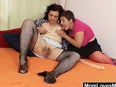 Older amateur cougars both bushy pussy sexing each other plus a plastic penis and enjoying mad lesbian sex for the first time