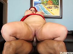 Courtesy of Plumper Pass you can see how the fat redhead slut Eliza Allure rides a big black cock into heaven while assuming some very interesting poses. Watch those massive boobs of hers bounce til she cums!