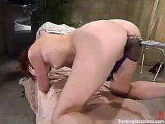 Beautiful dark-haired chick AnnaBelle Lee is playing dirty games indoors. She rubs her coochie and when it gets wet enough, she welcomes a fucking machine in her pink cave.