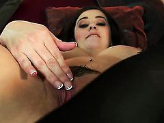 Taylor Vixen with giant tits and bald beaver enjoys another solo sex session