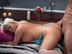 Kinky blonde ladyboy Holly Sweet gives a hot blowjob to some guy. Then she stands on all fours and allows the dude to drill her butt doggy style.