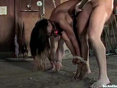 Two horny chicks get tied up by some cowboy at the ranch. They also get their pussies licked and fucked hard.