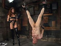 This is probably the most insane BDSM femdom ever made! Exotic bitch Kym Wilde is torturing that grandpa Robert Alan. Bob, you are gonna get a damn heart attack!
