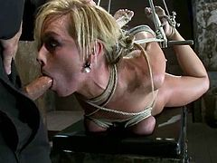 Hot blonde girl lies on a bench being tied up. She gives a blowjob to a guy and gets toyed by Isis Love at the same time.