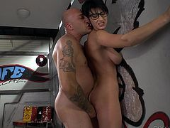 Brunette girl in glasses sits on the stairs and gets face fucked by Omar Galanti. Then she also gets ass fucked in reverse cowgirl and doggystyle poses.