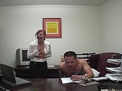 Lustful red haired secretary dominates one raunchy dude in the office. She takes off her blouse and starts to suck meaty dick of one randy dude. Good girl does her best.