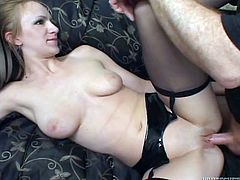 A slutty blonde milf rubs her coochie with a dildo while sucking her man's wang. Then the dude fucks the bitch's sweet pink pussy and fills it with his thick white juice.