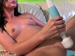 Pretty brunette Lily Carter rubs her coochie with a dildo and allows some guy to lick and finger it. She moans sweetly with pleasure and sucks the dude's wang afterwards.