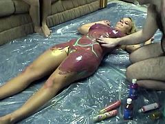 Naked ans sexy body of his wife is like playground for him.Watch him playing with his wife's pussy and her titties in Chick Pass Network sex clips.