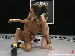 This pretty blonde is not good enough to fight with the best Ultimate Surrender fighters but she is really hot that is why it is always interesting to watch at her. IN this video she gets spanked and toyed deep with a strap-on by her opponent.