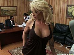 Brooke Haven is wearing tiny mini dress that traces tempting curves of her body. She is taking teasing positions while making copy of documents. This is the way she tries to attract boss' attention. It works well because it makes him have a hard boner.