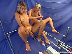 Two hot blondes Alexis and Sharon Wild are having some fun together. They kiss and caress each other and then smash each other's vags with fucking machines.
