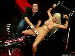 We have a cute and busty blonde babe here being put up on the torture rack for some hot and nasty bondage sex action that leaves her broken.