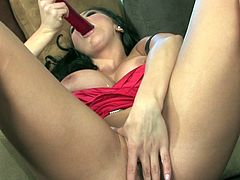Impressive brunette beauty Audrey Bitoni strokes a huge toy deep in the warm cunt