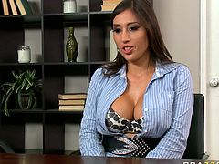 Sultry woman with gorgeous body shape and mouth-watering big boobs seduces the boss in the office. She lies on a table hanging down her head. She also unbuttons her shirt so her big boobs are exposed in all the glory. Horny man thrusts his dick in her mouth so she sucks it greedily.